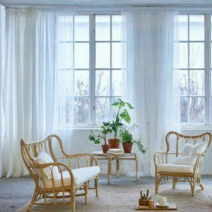 10x IKEA LILL White Lace Curtains Sheer Net 5 pair